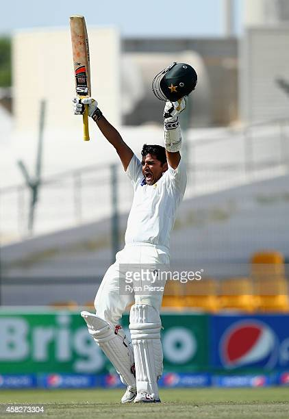 Azhar Ali of Pakistan celebrates after reaching his century during Day Four of the Second Test between Pakistan and Australia at Sheikh Zayed Stadium...