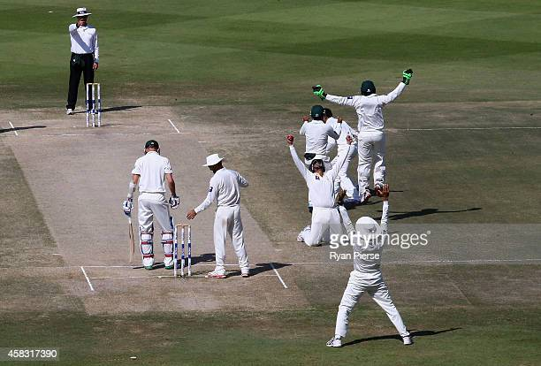 Azhar Ali of Pakistan celebrates after taking a catch to dismiss Nathan Lyon of Australia off the bowling of Zulfiqar Babar of Pakistan to claim...