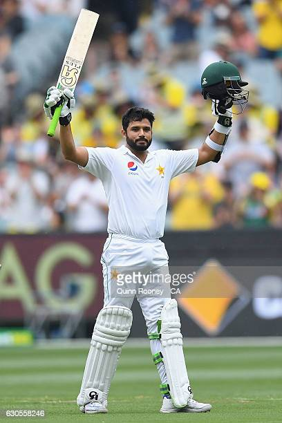 Azhar Ali of Pakistan celebrates making 100 runs during day two of the Second Test match between Australia and Pakistan at Melbourne Cricket Ground...