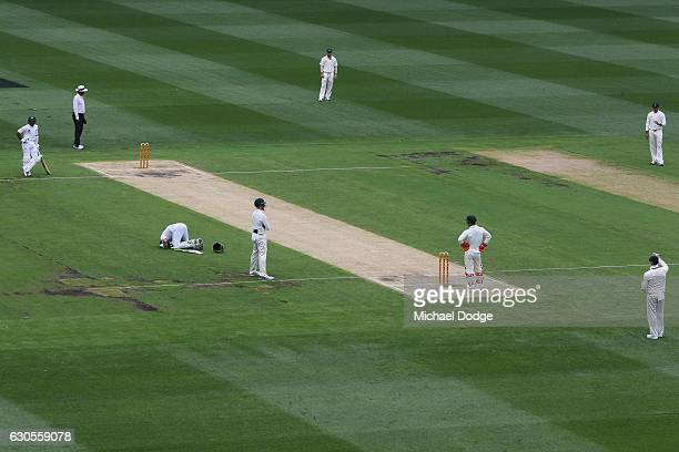 Azhar Ali of Pakistan celebrates making a century during day two of the Second Test match between Australia and Pakistan at Melbourne Cricket Ground...