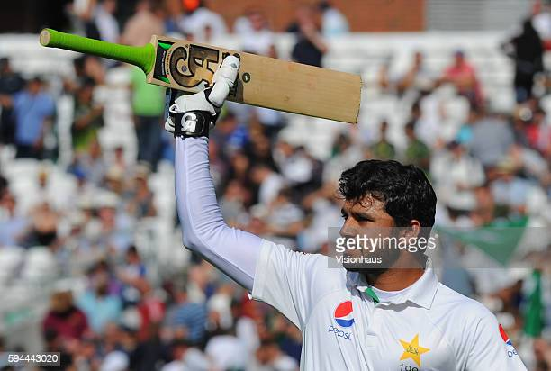 Azhar Ali of Pakistan celebrates victory during day four of the fourth Investec test match between England and Pakistan at The Kia Oval on August 14...