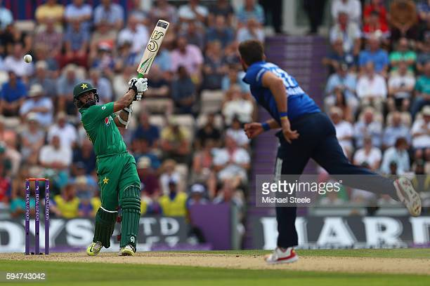 Azhar Ali of Pakistan hits a four to the long off boundary off the bowling of Liam Plunkett during the first Royal London One Day match between...