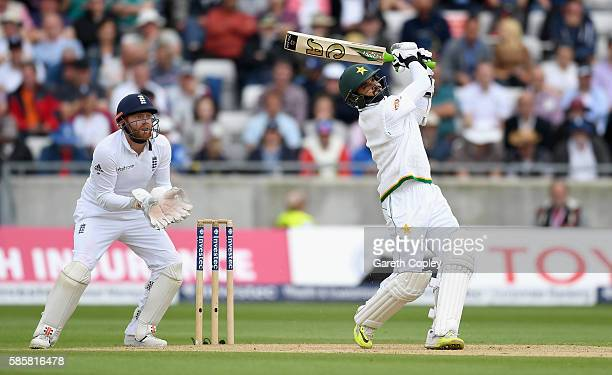 Azhar Ali of Pakistan hits out for six runs during day two of the 3rd Investec Test between England and Pakistan at Edgbaston on August 4 2016 in...