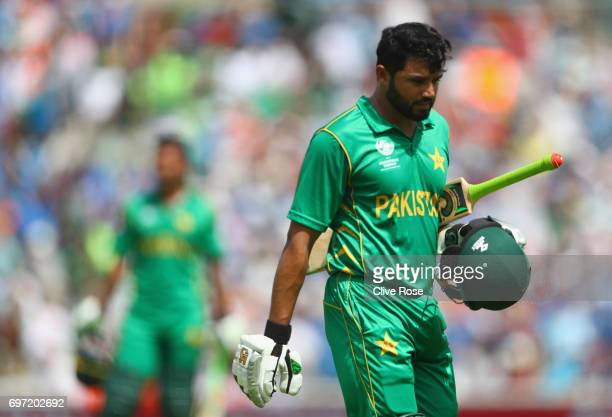 Azhar Ali of Pakistan leaves the field after running himself out during the ICC Champions trophy cricket match between India and Pakistan at The Oval...