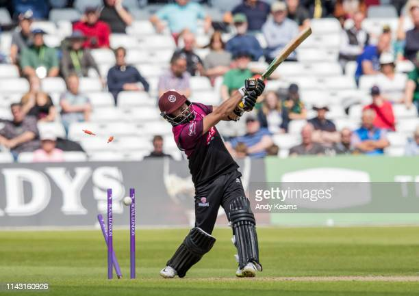 Azhar Ali of Somerset is bowled by Jake Ball of Nottinghamshire during the Royal London One Day Cup Semi Final match between Nottinghamshire and...