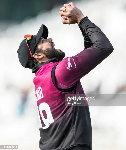 Azhar Ali of Somerset takes a catch to dismiss Luke Fletcher of Nottinghamshire during the Royal London One Day Cup Semi Final match between...