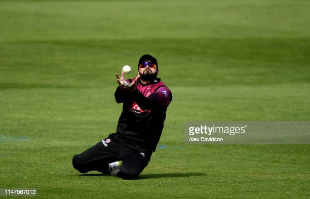 Azhar Ali of Somerset takes the catch of Jamie Smith of Surrey during the Royal London One Day Cup match between Somerset and Surrey at The Cooper...