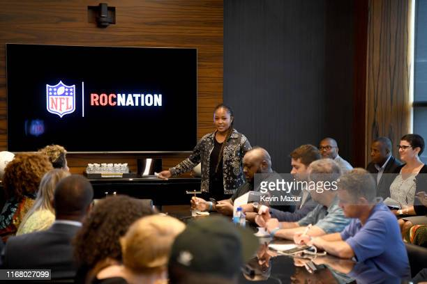 Azia Javier of Roc Nation attends the Roc Nation and NFL Partnership Announcement at Roc Nation on August 14 2019 in New York City