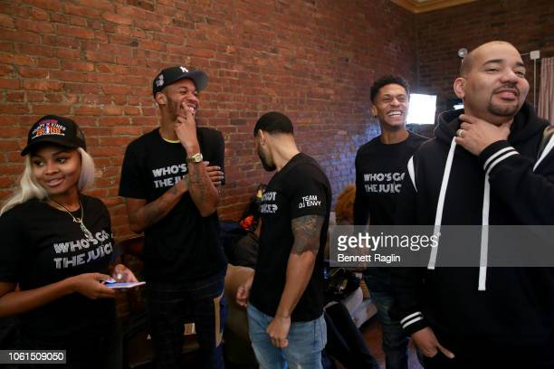 Azia Toussaint Perks Baggy Large Randy Bowden and DJ Envy attend Who's Got the Juice Hustle In Brooklyn on November 14 2018 in the Brooklyn borough...