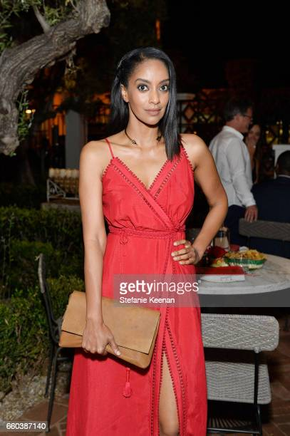 Azie Tesfai attends Minka Kelly and Barrett Ward CoHost the FashionABLE Equal Pay Day kickoff Dinner at Gracias Madre on March 29 2017 in Los Angeles...