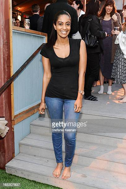 Azie Tesfai attends TOMS and the Windish Agency private preparty for TOMS One Day Without Shoes at TOMS Flagship Store on April 2 2013 in Venice...