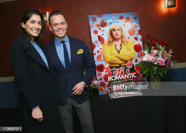 Azin Khorram and Frans Sjo attend the 'Isn't It Romantic' VIP screening powered by 1800Flowers on January 29 2019 in New York City
