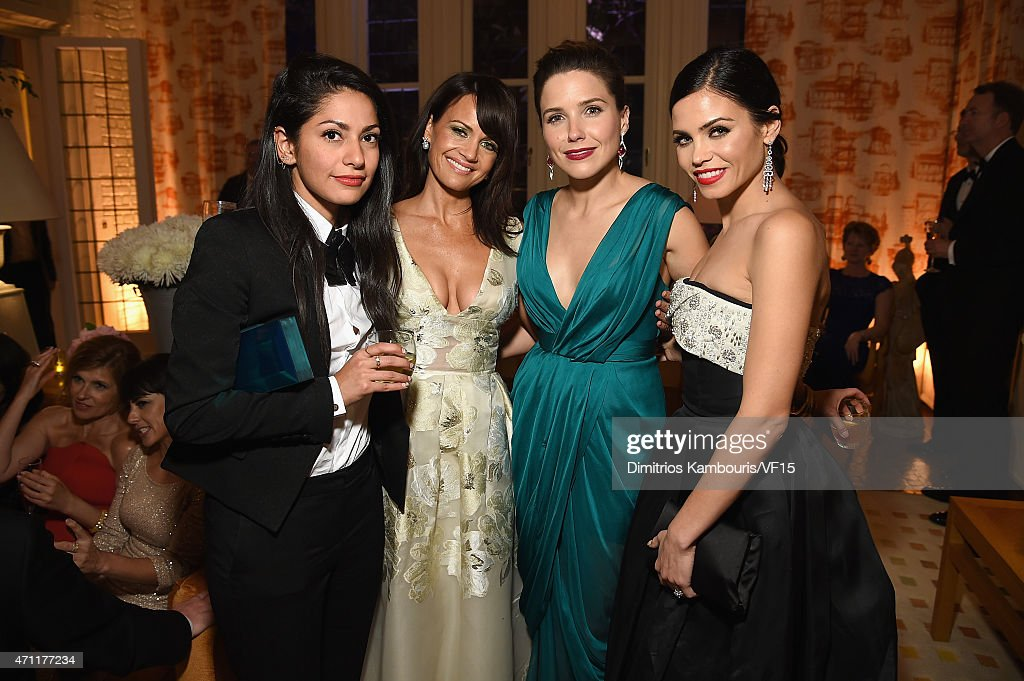 Azita Ardakani, Carla Gugino, Sophia Bush, and Jenna Dewan-Tatum attend the Bloomberg & Vanity Fair cocktail reception following the 2015 WHCA Dinner at the residence of the French Ambassador on April 25, 2015 in Washington, DC.