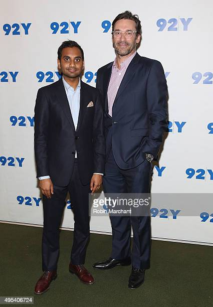"Aziz Anasari and Jon Hamm attends Aziz Anasari: ""Master Of None"" Screening And Conversation With Jon Hamm at 92nd Street Y on November 2, 2015 in New..."