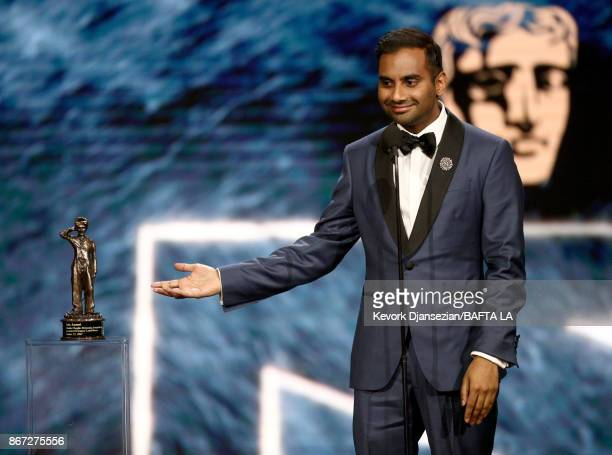 Aziz Ansari accepts Charlie Chaplin Britannia Award for Excellence In Comedy presented by Jaguar Land Rover at the 2017 AMD British Academy Britannia...