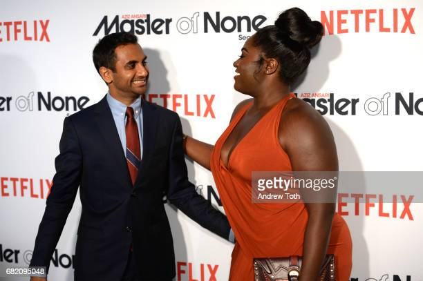 """Aziz Ansari and Danielle Brooks attend the """"Master of None"""" Season 2 Premiere at SVA Theatre on May 11, 2017 in New York City."""