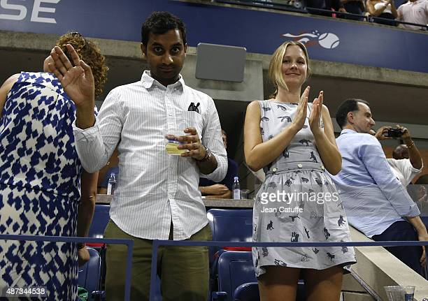 Aziz Ansari and his girlfriend Courtney McBroom attend the Williams sisters match on day nine of the 2015 US Open at USTA Billie Jean King National...