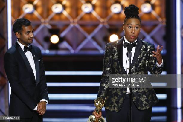 Aziz Ansari and Lena Waithe accepts the Emmy Award for Outstanding Writing for a Comedy Series at the 69TH PRIMETIME EMMY AWARDS LIVE from the...