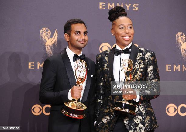 Aziz Ansari and Lena Waithe pose in the press room at the 69th annual Primetime Emmy Awards at Microsoft Theater on September 17 2017 in Los Angeles...