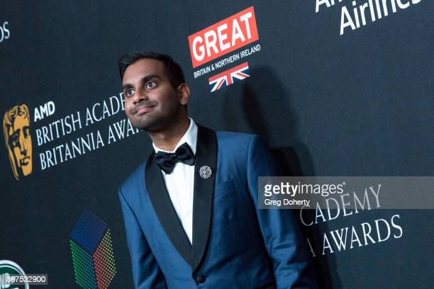 Aziz Ansari arrives for the 2017 AMD British Academy Britannia Awards presented by Jaguar Land Rover and American Airlines at The Beverly Hilton...