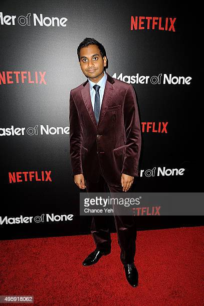 Aziz Ansari attends Master Of None New York premiere at AMC Loews 19th Street East 6 theater on November 5 2015 in New York City