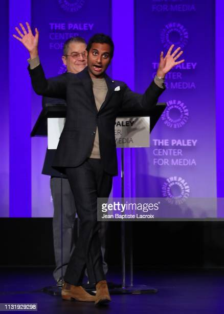 Aziz Ansari attends the Paley Center For Media's 2019 PaleyFest LA Parks And Recreation 10th Anniversary Reunion held at the Dolby Theater on March...