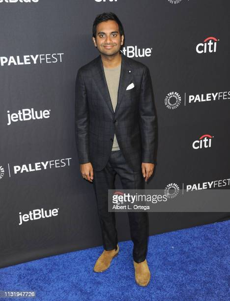 Aziz Ansari attends The Paley Center For Media's 2019 PaleyFest LA Parks And Recreation 10th Anniversary Reunion held at Dolby Theatre on March 21...