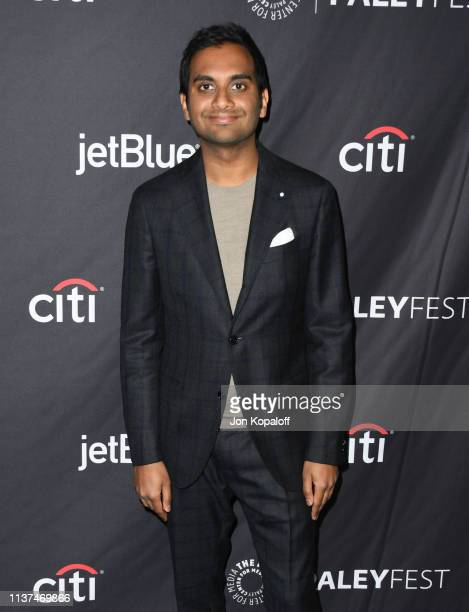Aziz Ansari attends The Paley Center For Media's 2019 PaleyFest LA Parks And Recreation 10th Anniversary Reunion at Dolby Theatre on March 21 2019 in...