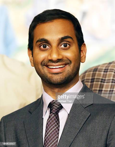 Aziz Ansari attends the 'Parks And Recreation' 100th episode celebration held at CBS Studios Radford on October 16 2013 in Studio City California