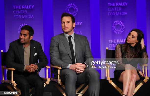 Aziz Ansari Chris Pratt and Aubrey Plaza attend the Paley Center For Media's 2019 PaleyFest LA Parks And Recreation 10th Anniversary Reunion held at...