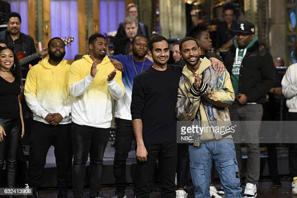 LIVE 'Aziz Ansari' Episode 1716 Pictured Host Aziz Ansari and musical guest Big Sean during the goodnights on January 21st 2017