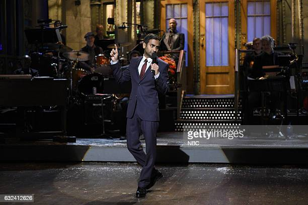 LIVE 'Aziz Ansari' Episode 1716 Pictured Host Aziz Ansari during the standup monologue on January 21st 2017
