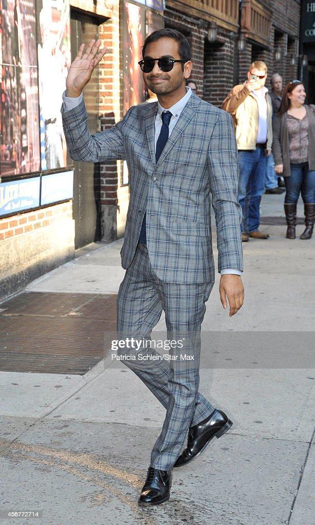 Aziz Ansari is seen on October 6, 2014 in New York City.