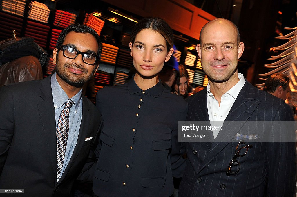 Aziz Ansari, Lily Aldridge and GQ Vice President and Publisher Chris Mitchell attend the Tommy Hilfiger & GQ celebrate Men of New York at the 5th Avenue Flagship on November 29, 2012 in New York City.