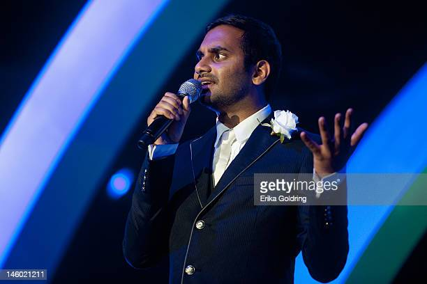 Aziz Ansari performs in The Comedy Tent during the 2012 Bonnaroo Music and Arts Festival on June 8 2012 in Manchester Tennessee