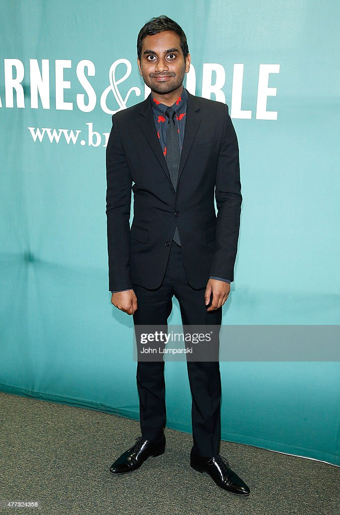 Aziz Ansari signs copies of his book 'Modern Romance' at Barnes & Noble Union Square on June 16, 2015 in New York City.
