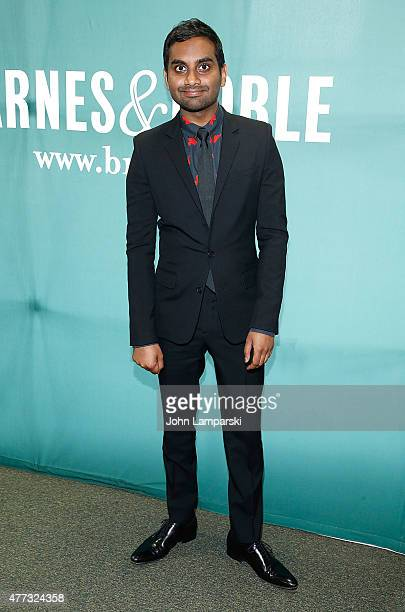Aziz Ansari signs copies of his book 'Modern Romance' at Barnes Noble Union Square on June 16 2015 in New York City