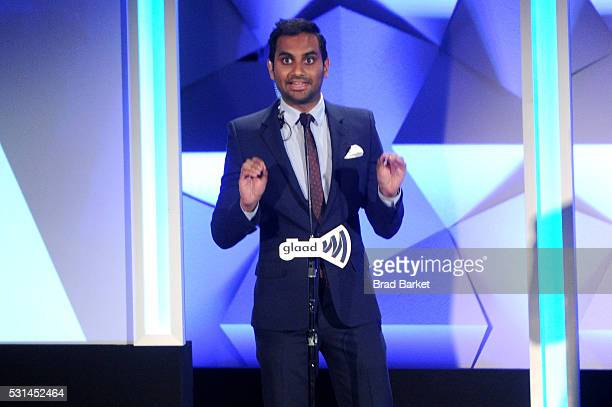 Aziz Ansari speaks onstage at the 27th Annual GLAAD Media Awards hosted by Ketel One Vodka at the WaldorfAstoria on May 14 2016 in New York City
