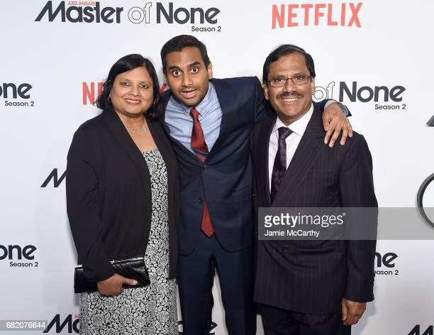 "Aziz Ansari with his parents Fatima Ansari and Shoukath Ansari attend the ""Master Of None"" Season 2 Premiere at SVA Theatre on May 11, 2017 in New..."