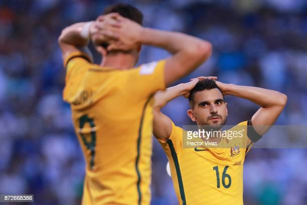 Aziz Behich and Tomi Jurić of Australia react during a first leg match between Honduras and Australia as part of FIFA World Cup Qualifiers Play Off...