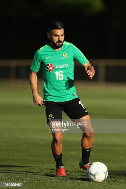 Aziz Behich during a Australian Socceroos training session at Lion FC Stadium on November 13 2018 in Brisbane Australia