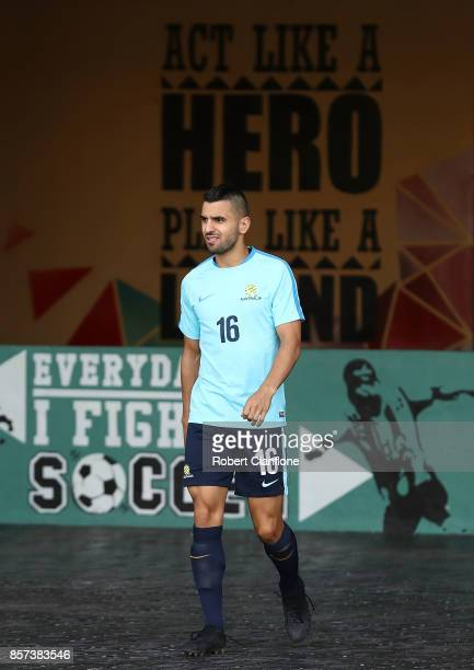 Aziz Behich of Australia arrives for an Australia Socceroos training session at Hang Jebat Stadium on October 4 2017 in Malacca Malaysia