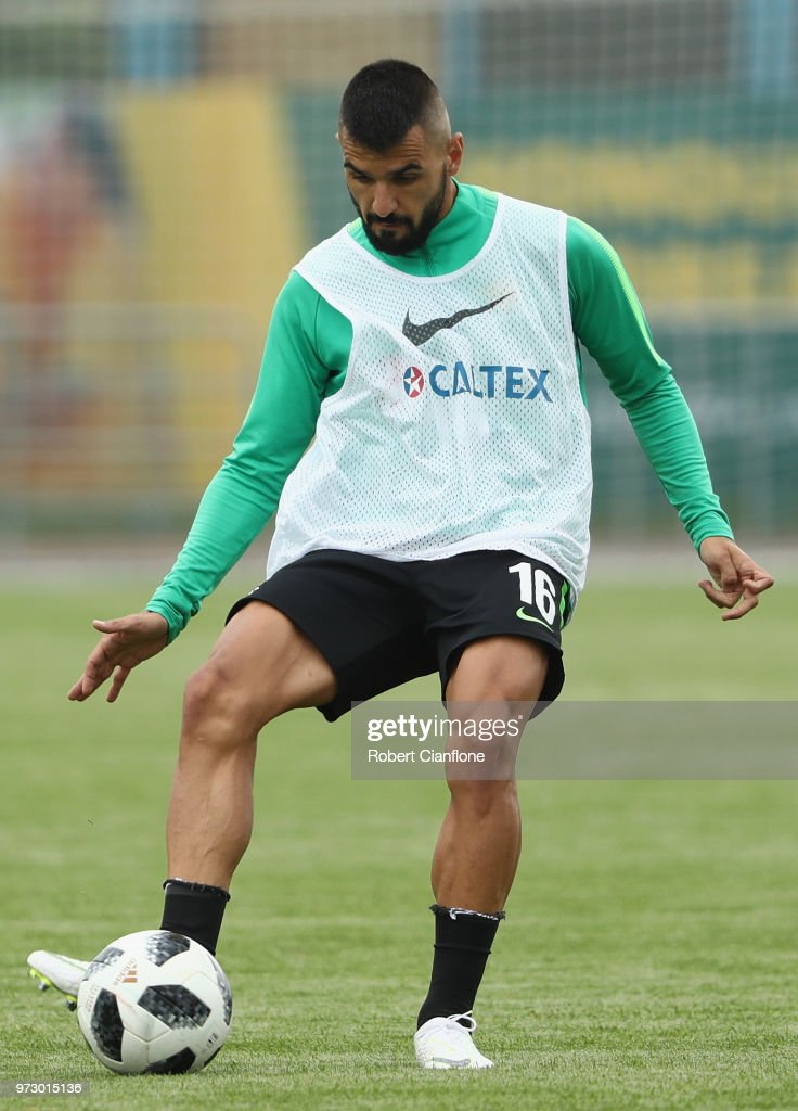 Aziz Behich of Australia controls the ball during an Australia Socceroos training session ahead of the FIFA World Cup 2018at Stadium Trudovye Rezervy on June 13, 2018 in Kazan, Russia.