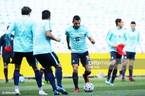 Aziz Behich of Australia controls the ball during an Australian Socceroos training session at ANZ Stadium ahead of their World Cup 2018 qualifying...
