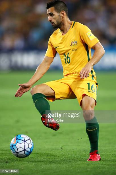 Aziz Behich of Australia controls the ball during the 2018 FIFA World Cup Qualifiers Leg 2 match between the Australian Socceroos and Honduras at ANZ...