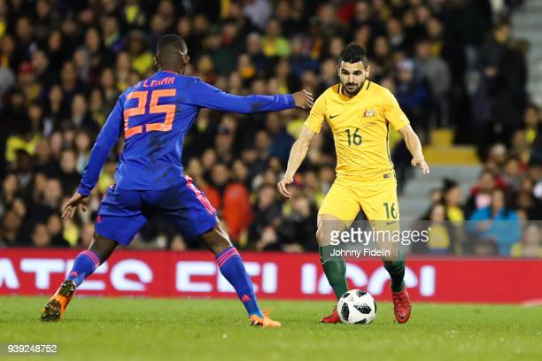 Aziz Behich of Australia during the International friendly match between Colombia and Australia at Craven Cottage on March 27 2018 in London England