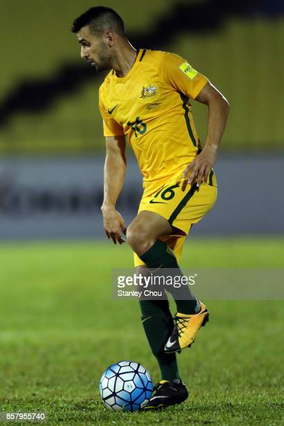 Aziz Behich of Australia in action during the 2018 FIFA World Cup Asian Playoff match between Syria and the Australia Socceroos at Hang Jebat Stadium...