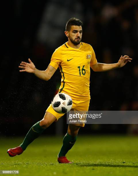 Aziz Behich of Australia in action during the International Friendly match between Australia and Colombia at Craven Cottage on March 27 2018 in...