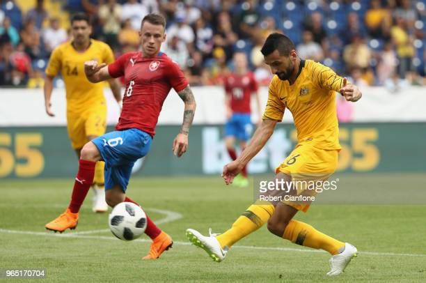 Aziz Behich of Australia kicks the ball during the International Friendly match between the Czech Republic and Australia Socceroos at NV Arena on...