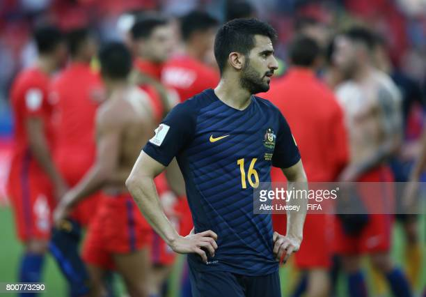 Aziz Behich of Australia looks on after the FIFA Confederations Cup Russia 2017 Group B match between Chile and Australia at Spartak Stadium on June...